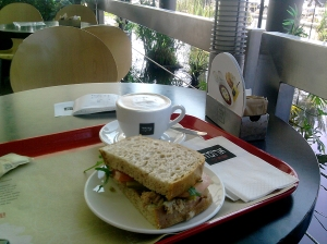 Cappuccino and Sandwich at Aroma Cafe