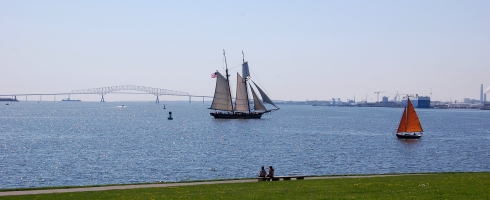 The Pride of Baltimore II viewed from Fort McHenry