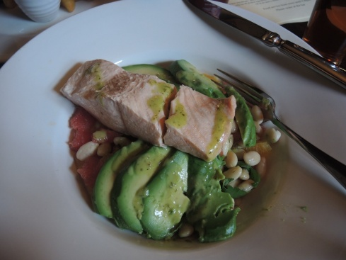 Strange but tasty salad of  poached salmon, avocado, beans, grapefruit, oranges and arugula