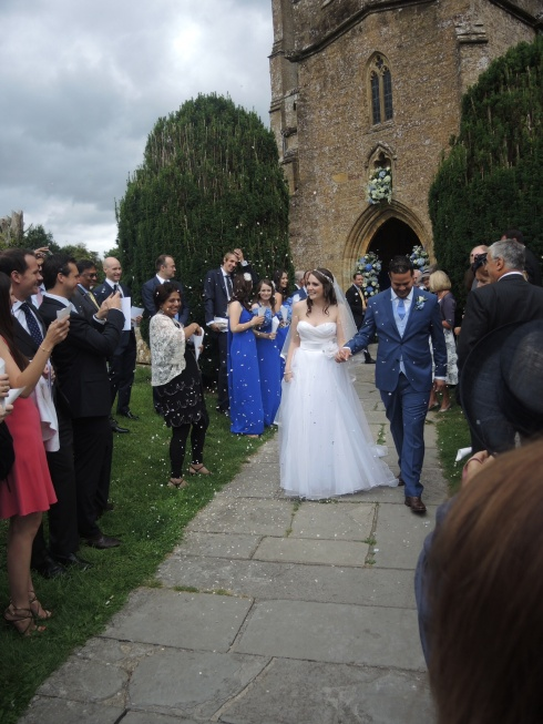 The happy couple at All Saint's Church in Martock